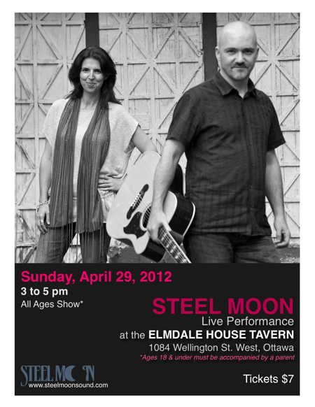 Poster for Steel Moon show at the Elmdale Tavern